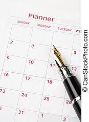 Calendar agenda, schedule, close up shot for background