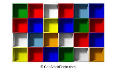 3d Empty multi colored shelves for exhibit