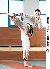 man at taekwondo exercises - young adult man in kimono...