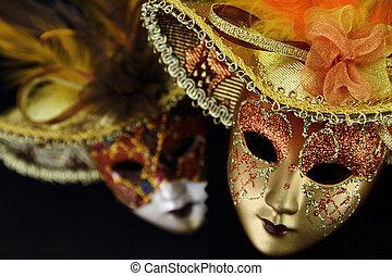 Vintage carnival masks on black background