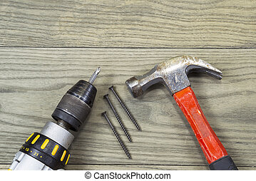 Deck Materials - Power screwdriver, wood screws and hammer...
