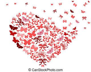 borboleta, Coração, voando, vermelho