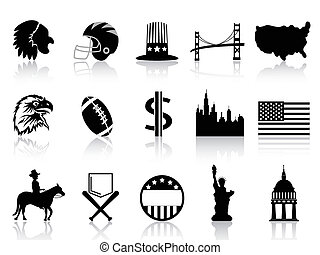 American symbol icons - isolated black American symbol icons...