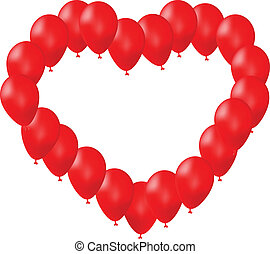 Red balloons arranged in a heart shape on white