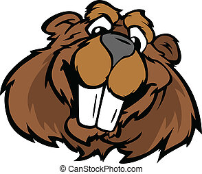 Happy Smiling Cartoon Beaver Vector Graphic - Beaver with...