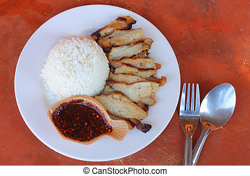 Pork with dipping sauce