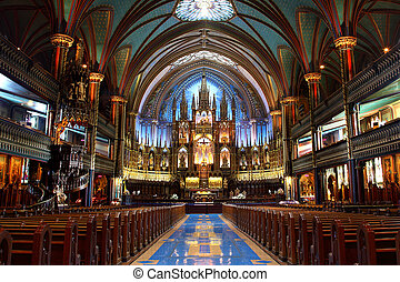 Notre-Dame Basilica in Montreal - Inside of the Notre-Dame...
