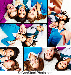 Friendly teenagers - Collage of teenage friends lying on the...