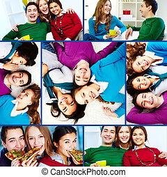 Happy friends - Collage of teenage friends enjoying...