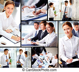 Business partners at work - Collage of business people...
