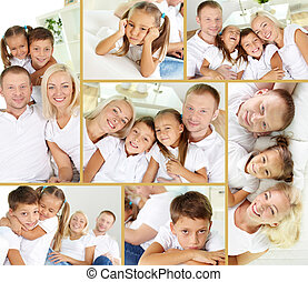 Generation - Collage of young parents with two children...