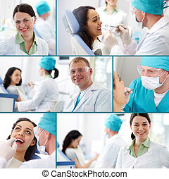 Dental practice - Collection of images of dentists at work