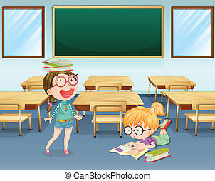 Student inside the classroom - Illustration of two students...
