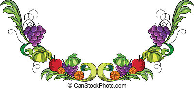 Vine fruit border - Illustration of a vine fruit border on a...