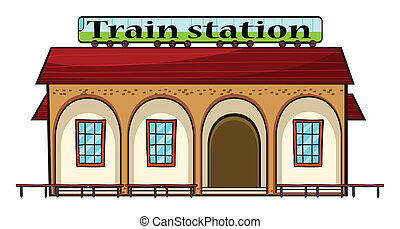 A train station - Illustration of a train station on a white...