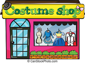 A costume shop - Illustration of a costume shop on a white...