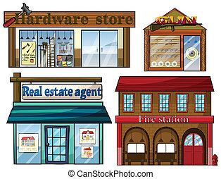 Different establishments - Illustration of the different...