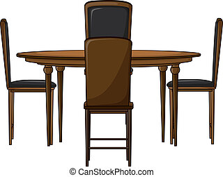 A dinning table - Illustration of a dinning table on a white...