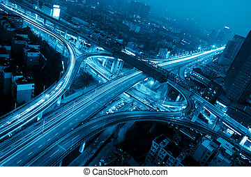 road junction - A road junction at evening in changsha...