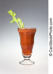 Veggie juice and celery stalk - A studio shot of freshly...