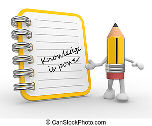 Notebook - 3d Knowledge is power. Notebook and a pencil....