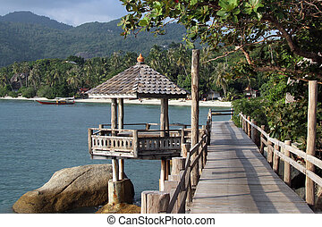 Ko Phangan - Wooden path on the coast in Ko Phangan,...