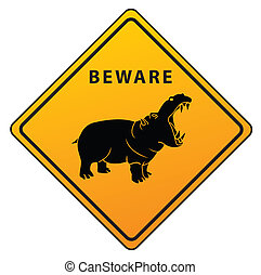 hippo Caution Sign