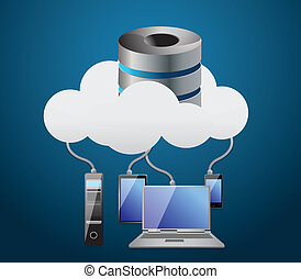 Cloud computing concept illustration design over a white...