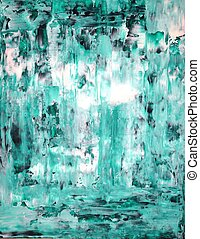 Green and White Abstract Art