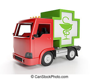 3d illustration: Truck and medicine. Delivery of medical supplies