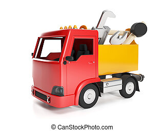 3d illustration: Transport technology Truck and a box of...