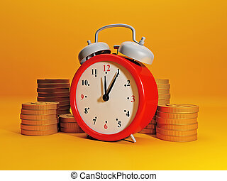 Time to earn money. Alarm clock symbolizes time and team...