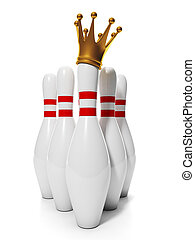 King of Bowling. Group of bowling pins and a golden crown on...
