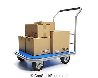 Large cargo with cardboard box. Delivery of goods, services