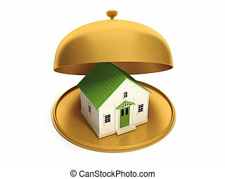 Apartment as a gift house on a golden platter, buying new...