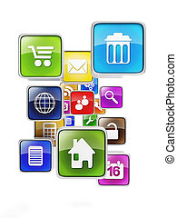 Mobile group of icons on a white background. Creating Mobile Applications