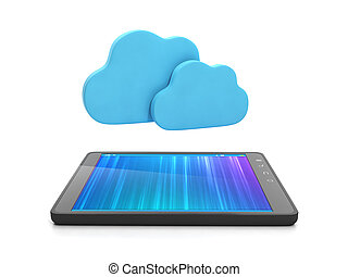 Mobile technology Tablet computer and group of clouds,...