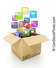 Cardboard box Box and mobile cloud icons. Create mobile...