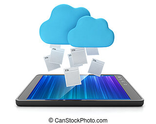 Cloud technologies. The tablet takes a group of filesCloud...