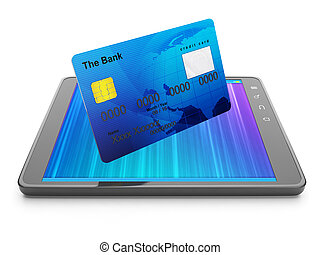 Mobile Banking Credit card and tablet