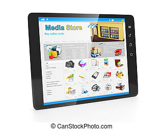 Store media applications Tablet PC with an open webpage...