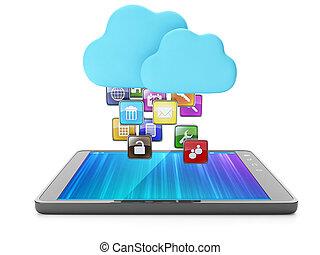 Cloud technology, modern technology. Skachaka applications...