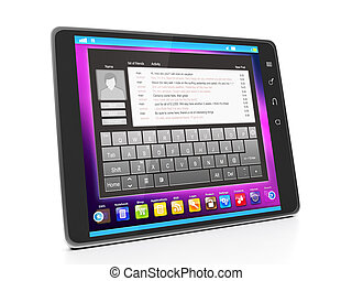 Communication in social networks. Tablet computer with the text of correspondence in social networks