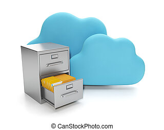 Cloud computing, data storage on servers. Box with documents...