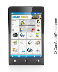 Mobile technology mobile shop. Cell phone close up front on a white background