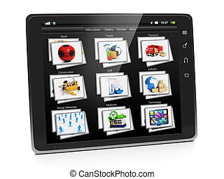 Tablet PC with a gallery of images. Tablet closeup view...