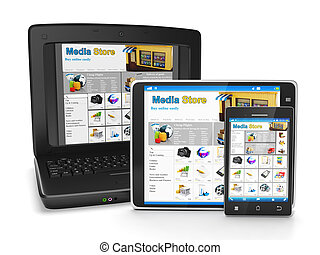 The group of mobile technology media store Tablet PC, laptop...