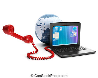 Calls via the internet to fall in love place on earth. Laptop land and the handset on a white background
