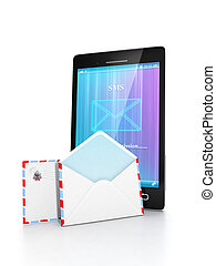 Sending messages via mobile phone. Group emails are near the mobile phone on a white background
