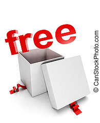 Gift box on a white background and the words free